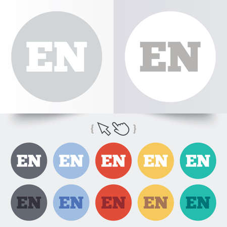 en: English language sign icon. EN translation symbol. Round 12 circle buttons. Shadow. Hand cursor pointer.