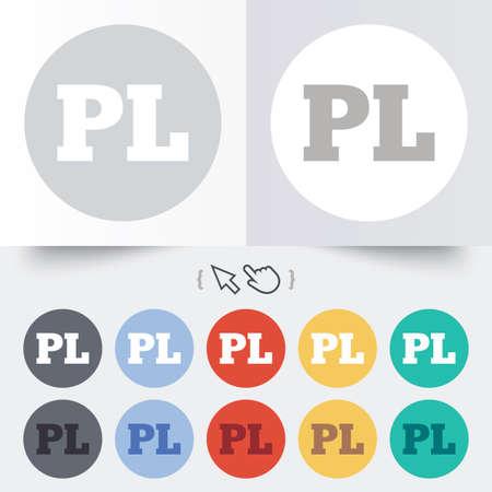 pl: Polish language sign icon. PL translation symbol. Round 12 circle buttons. Shadow. Hand cursor pointer.