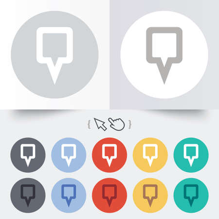 Map pointer sign icon. Location marker symbol. Round 12 circle buttons. Shadow. Hand cursor pointer.  Vector