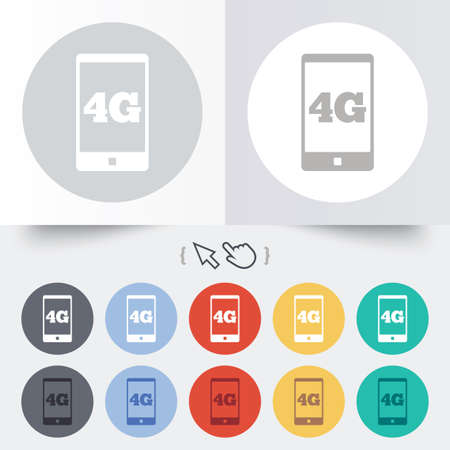 4G sign icon. Mobile telecommunications technology symbol. Round 12 circle buttons. Shadow. Hand cursor pointer.  Vector