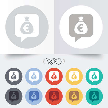eur: Money bag sign icon. Euro EUR currency speech bubble symbol. Round 12 circle buttons. Shadow. Hand cursor pointer.