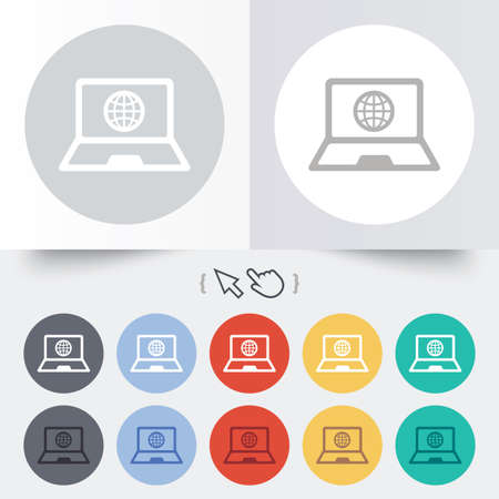 Laptop sign icon. Notebook pc with globe symbol. Round 12 circle buttons. Shadow. Hand cursor pointer.  Vector