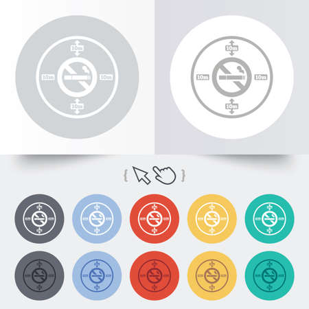 No smoking 10m distance sign icon. Stop smoking symbol. Round 12 circle buttons. Shadow. Hand cursor pointer.  Vector