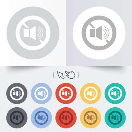 Speaker volume sign icon. No Sound symbol. Round 12 circle buttons. Shadow. Hand cursor pointer.  Vector