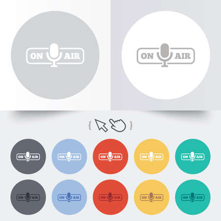 live stream sign: On air sign icon. Live stream symbol. Microphone symbol. Round 12 circle buttons. Shadow. Hand cursor pointer. Illustration