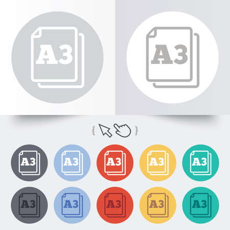 a3: Paper size A3 standard icon. File document symbol. Round 12 circle buttons. Shadow. Hand cursor pointer.