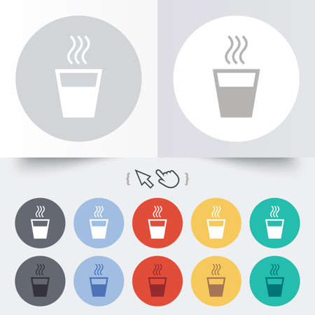 Hot water sign icon. Hot drink glass symbol. Round 12 circle buttons. Shadow. Hand cursor pointer.  Vector