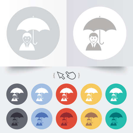 Human insurance sign icon. Man Person symbol. Round 12 circle buttons. Shadow. Hand cursor pointer.  Vector