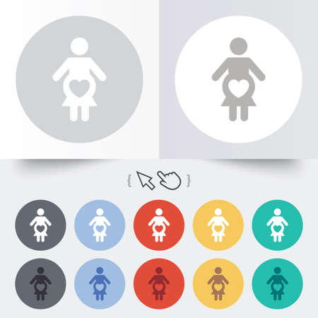 Pregnant sign icon. Women Pregnancy symbol. Round 12 circle buttons. Shadow. Hand cursor pointer.  Vector