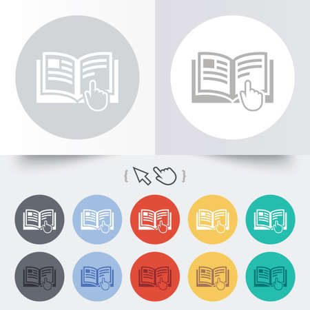 instruction: Instruction sign icon. Manual book symbol. Read before use. Round 12 circle buttons. Shadow. Hand cursor pointer.