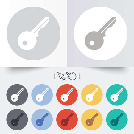 Key sign icon. Unlock tool symbol. Round 12 circle buttons. Shadow. Hand cursor pointer.  Vector