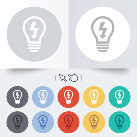 Light lamp sign icon. Bulb with lightning symbol. Idea symbol. Round 12 circle buttons. Shadow. Hand cursor pointer.  Vector