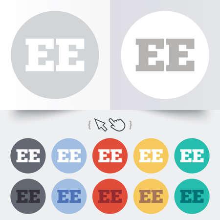 ee: Estonian language sign icon. EE translation symbol. Round 12 circle buttons. Shadow. Hand cursor pointer.