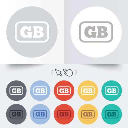 gb: British language sign icon. GB Great Britain translation symbol with frame. Round 12 circle buttons. Shadow. Hand cursor pointer.