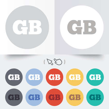 gb: British language sign icon. GB Great Britain translation symbol. Round 12 circle buttons. Shadow. Hand cursor pointer. Illustration