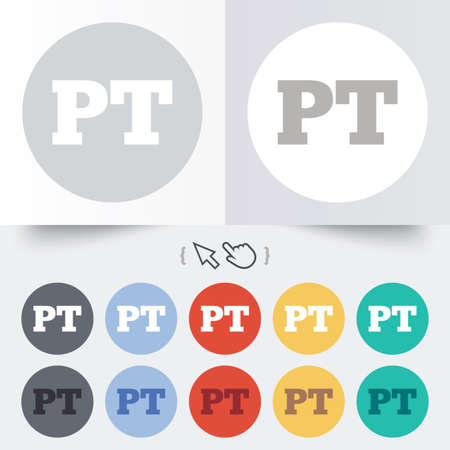Portuguese language sign icon. PT Portugal translation symbol. Round 12 circle buttons. Shadow. Hand cursor pointer.