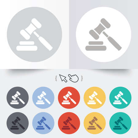 auction gavel: Auction hammer icon. Law judge gavel symbol. Round 12 circle buttons. Shadow. Hand cursor pointer.  Illustration
