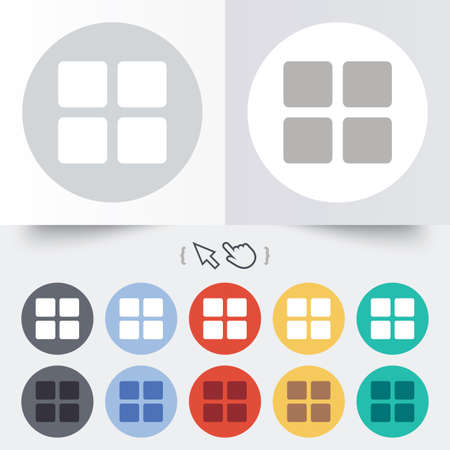 thumbnails: Thumbnails sign icon. Gallery view option symbol. Round 12 circle buttons. Shadow. Hand cursor pointer.  Illustration