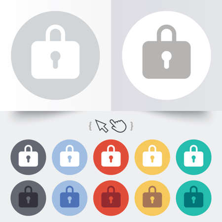 Lock sign icon. Locker symbol. Round 12 circle buttons. Shadow. Hand cursor pointer.  Vector