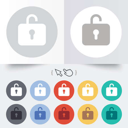 Lock sign icon. Login symbol. Round 12 circle buttons. Shadow. Hand cursor pointer. Vector