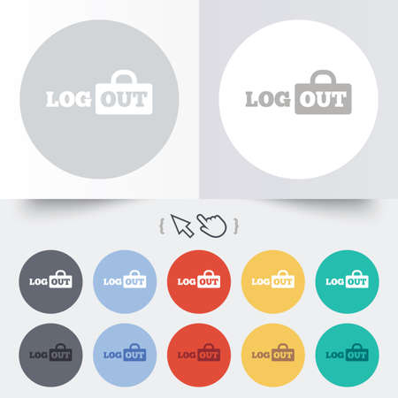 sign out: Logout sign icon. Sign out symbol. Lock icon. Round 12 circle buttons. Shadow. Hand cursor pointer.