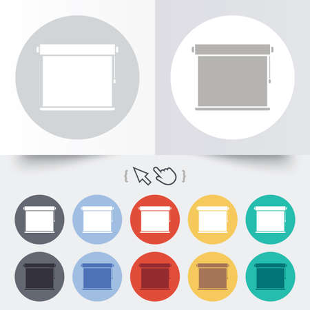 roll curtains: Louvers rolls sign icon. Window blinds or jalousie symbol. Round 12 circle buttons. Shadow. Hand cursor pointer.
