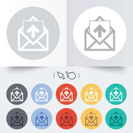 outgoing: Mail icon. Envelope symbol. Outgoing message sign. Mail navigation button. Round 12 circle buttons. Shadow. Hand cursor pointer.