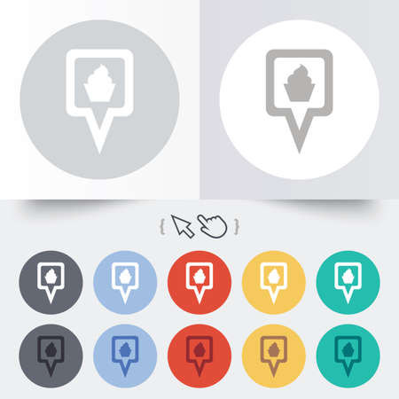 Map pointer food sign icon. Restaurant location marker symbol. Round 12 circle buttons. Shadow. Hand cursor pointer.  Vector