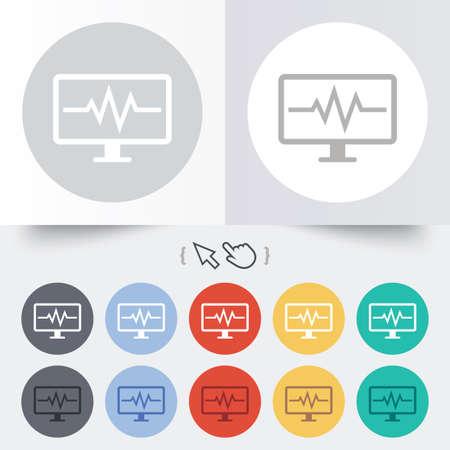 hand beats: Cardiogram monitoring sign icon. Heart beats symbol. Round 12 circle buttons. Shadow. Hand cursor pointer.  Illustration
