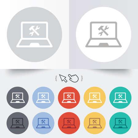 laptop repair: Laptop icono de signo de reparaci�n. Notebook s�mbolo servicio soluci�n. Ronda de 12 botones de c�rculo. Sombra. Puntero del cursor de la mano.
