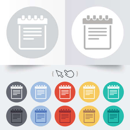 Notepad sign icon. Paper notebook symbol. Round 12 circle buttons. Shadow. Hand cursor pointer.  Vector