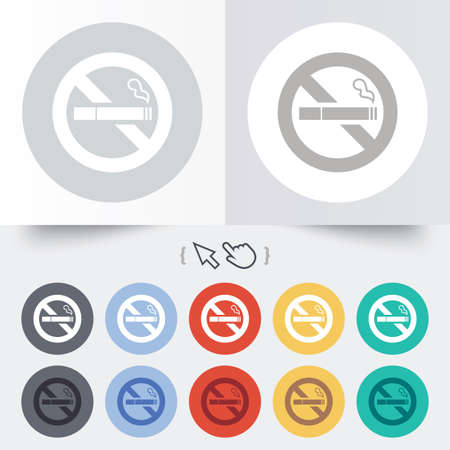 smoking cigarette: No Smoking sign icon. Quit smoking. Cigarette symbol. Round 12 circle buttons. Shadow. Hand cursor pointer.