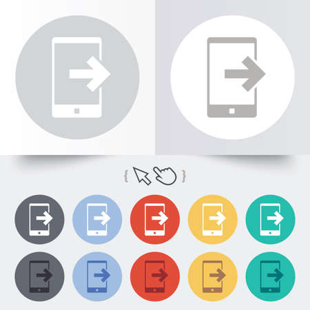 outcoming: Outcoming call sign icon. Smartphone symbol. Round 12 circle buttons. Shadow. Hand cursor pointer.
