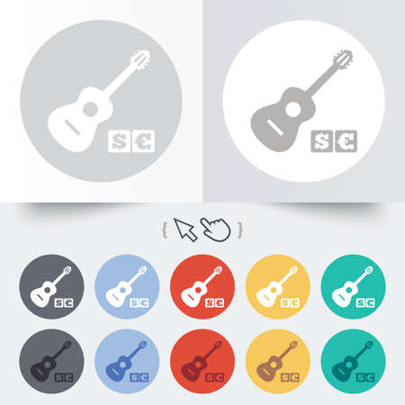 usr: Acoustic guitar sign icon. Paid music symbol. Round 12 circle buttons. Shadow. Hand cursor pointer. Illustration