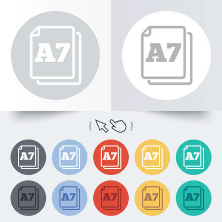 a7: Paper size A7 standard icon. File document symbol. Round 12 circle buttons. Shadow. Hand cursor pointer.