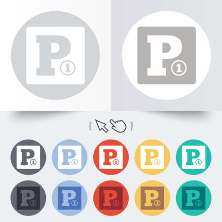 staying: Paid parking sign icon. Car parking symbol. Round 12 circle buttons. Shadow. Hand cursor pointer.