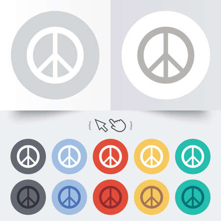 Peace sign icon. Hope symbol. Antiwar sign. Round 12 circle buttons. Shadow. Hand cursor pointer.  Vector