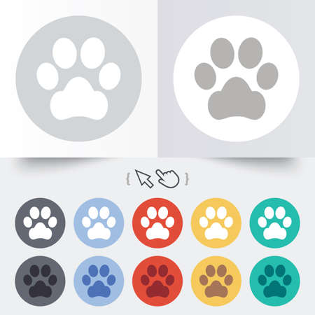 Dog paw sign icon. Pets symbol. Round 12 circle buttons. Shadow. Hand cursor pointer.  Vector