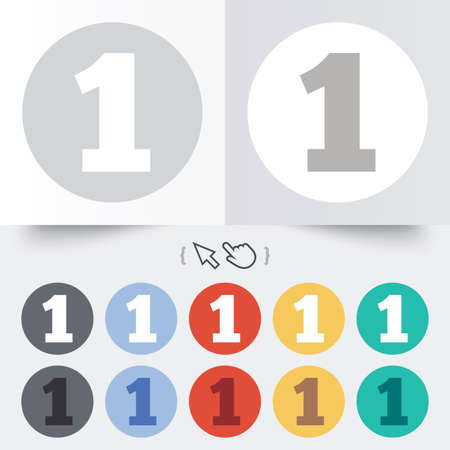 12 step: First place award sign. Winner symbol. Step one. Round 12 circle buttons. Shadow. Hand cursor pointer.