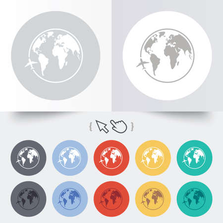 Airplane sign icon. Travel trip round the world symbol. Round 12 circle buttons. Shadow. Hand cursor pointer.  Vector