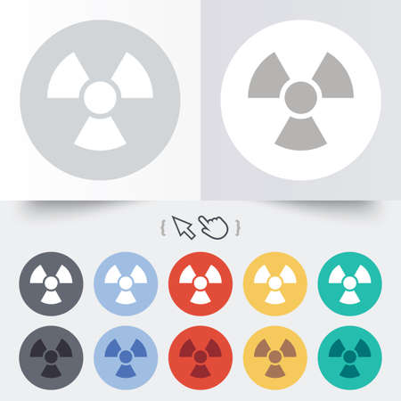 Radiation sign icon. Danger symbol. Round 12 circle buttons. Shadow. Hand cursor pointer.  Vector
