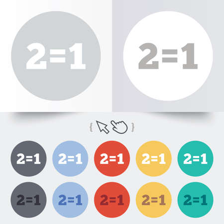 equals: Two for one sign icon. Take two pay for one sale button. 2 equals 1. Round 12 circle buttons.  Illustration