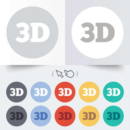3D sign icon. 3D New technology symbol. Round 12 circle buttons.  Vector