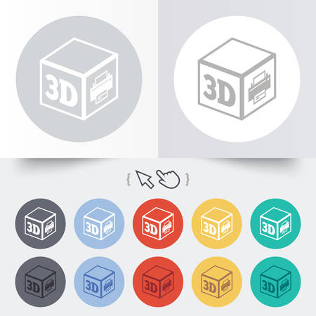 3D Print sign icon. 3d cube Printing symbol. Additive manufacturing. Round 12 circle buttons.  Vector