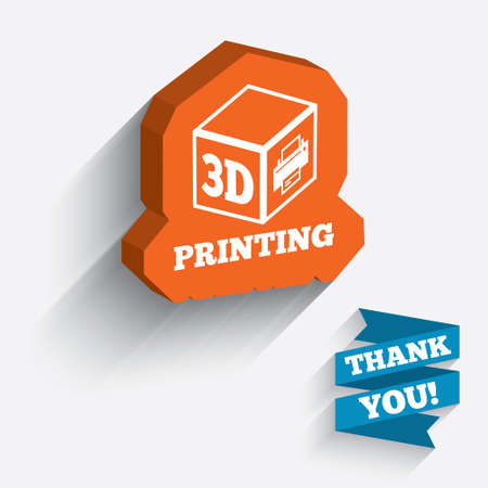 3D Print sign icon. 3d cube Printing symbol. Additive manufacturing. White icon on orange 3D piece of wall.  Vector