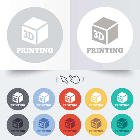 3D Print sign icon. 3d cube Printing symbol. Additive manufacturing. Round 12 circle buttons. Shadow. Vector