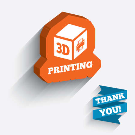 additive manufacturing: 3D Print sign icon. 3d cube Printing symbol. Additive manufacturing. White icon on orange 3D piece of wall.