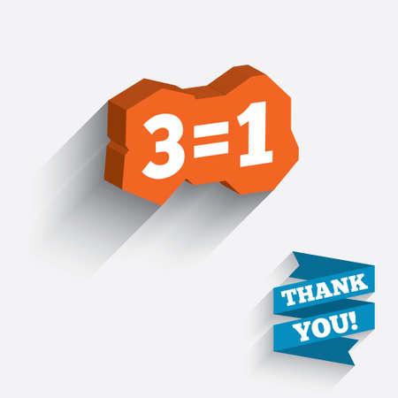 equals: Drei f�r eine Zeichen-Symbol. Nehmen Sie drei Lohn f�r einen Verkauf-Taste. 3 gleich 1. Wei�es Symbol auf orange 3D St�ck Wand.