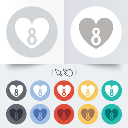8 March Womens Day sign icon. Heart symbol. Round 12 circle buttons.  Vector