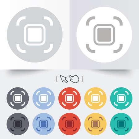 Autofocus zone sign icon. Photo camera settings. Round 12 circle buttons. Illustration